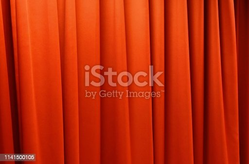 close up of red curtain on stage background and texture