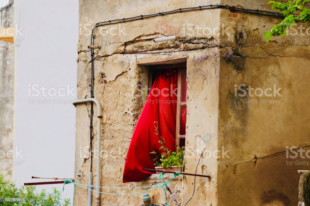 Red curtain. stock photo