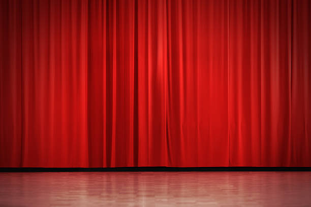 red curtain - stage performance space stock pictures, royalty-free photos & images