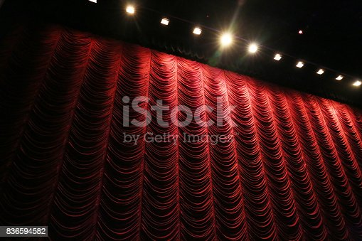 istock Red curtain 836594582