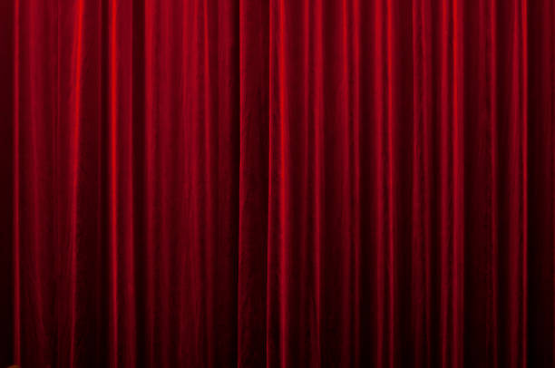 red curtain - curtain stock pictures, royalty-free photos & images