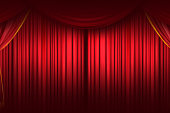 Red curtain. Closing Curtain. Stage Curtain. High quality computer animation
