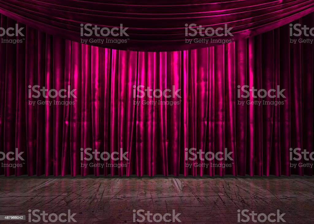 red curtain stage stock photo