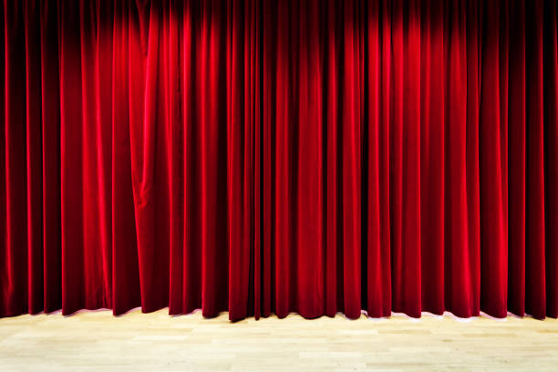 red curtain stage - curtain stock photos and pictures