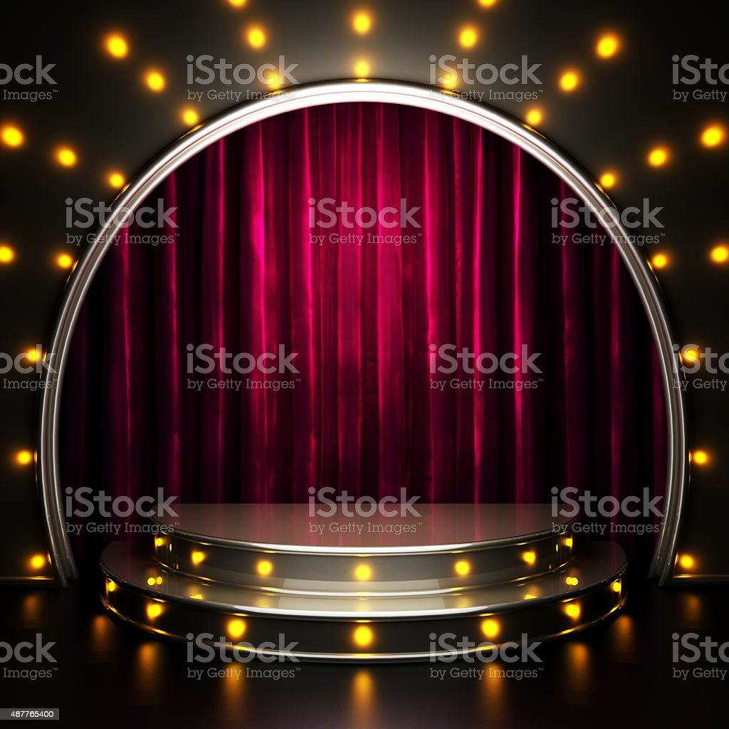 red curtain stage with lights stock photo