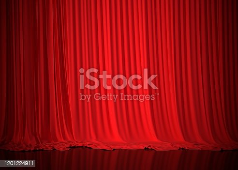 red, curtains, 3d, rendering, stage