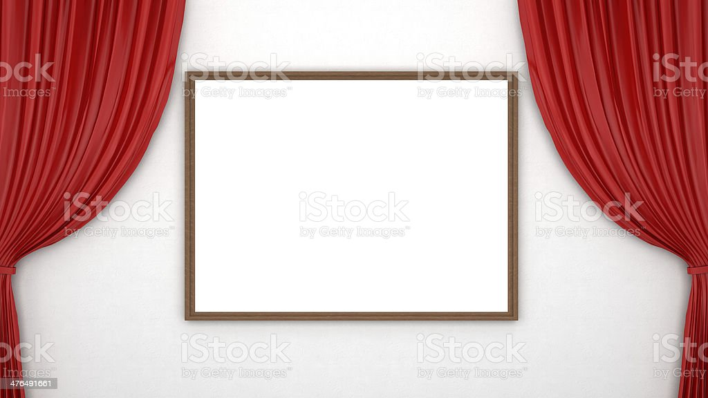 red curtains and blank frame stock photo