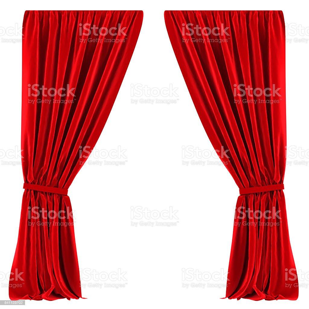 cortinas rojas aislado foto de stock libre de derechos - Cortinas Rojas