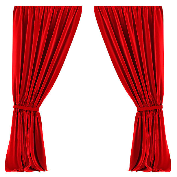 red curtains isolated - curtain stock photos and pictures