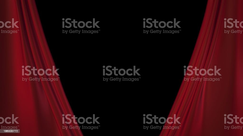 red curtains opening for the theatre stock photo