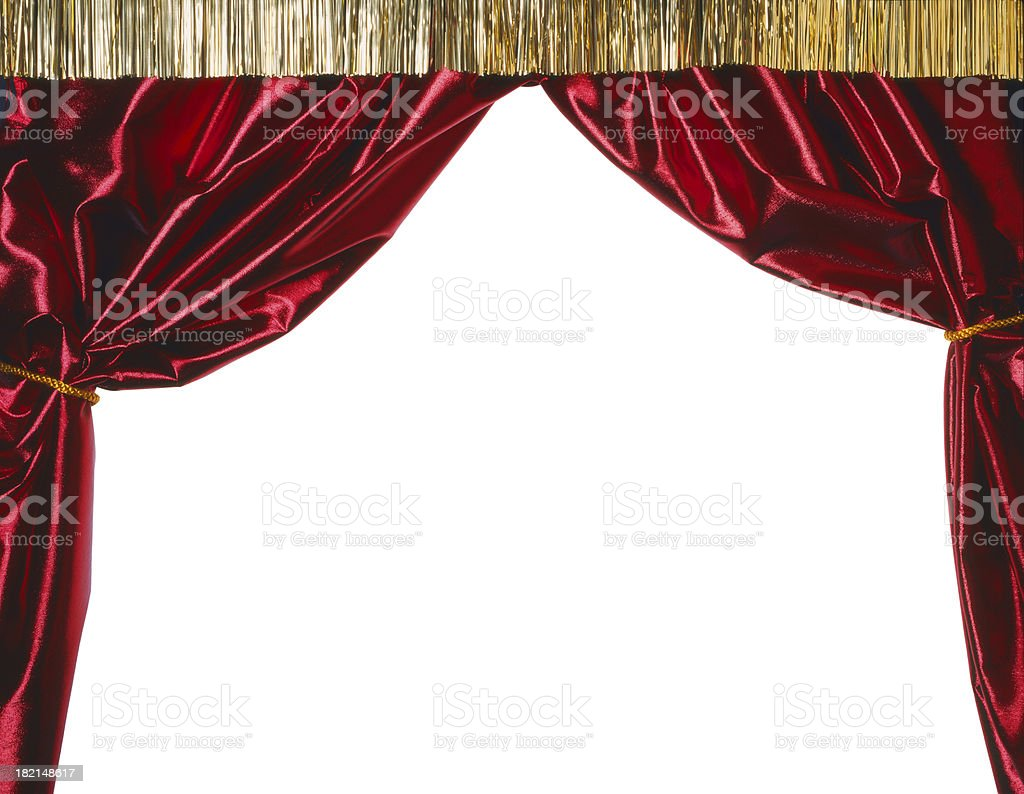 Red curtains pulled back. royalty-free stock photo