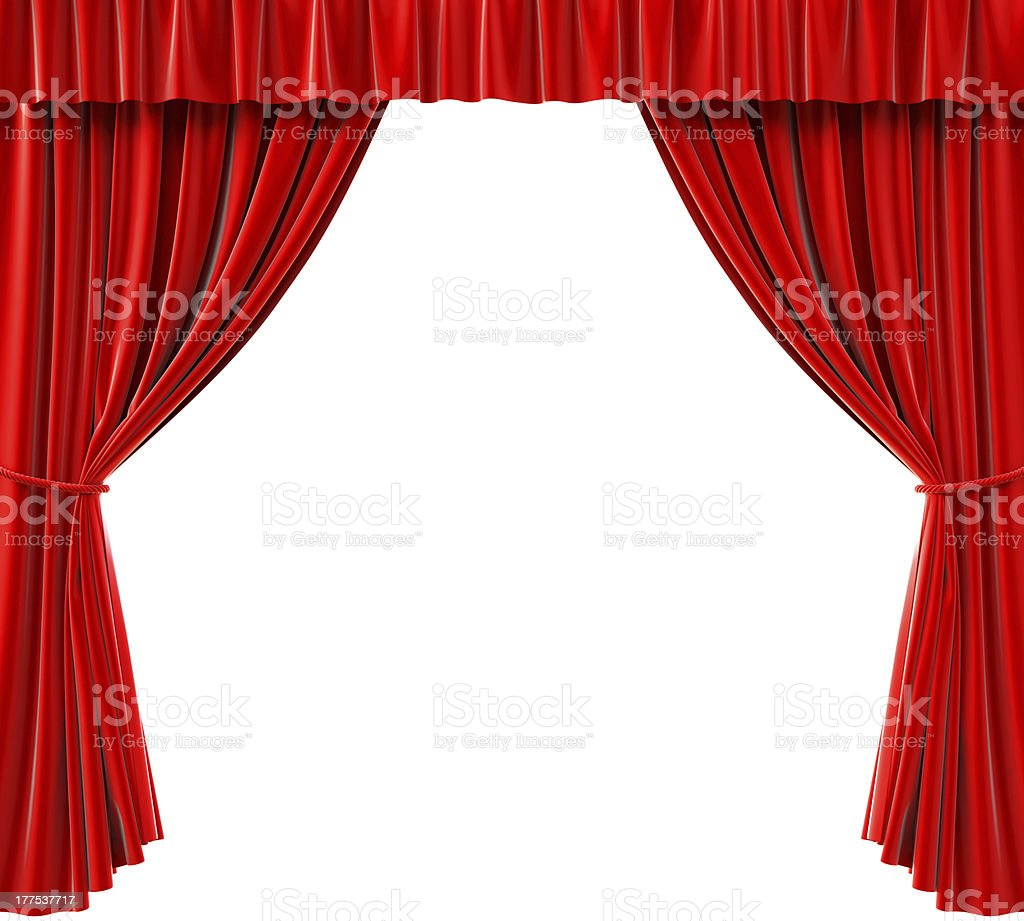 Red curtains pulled back to reveal a white background stock photo
