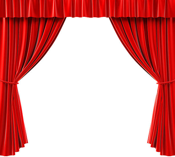 red curtains pulled back to reveal a white background - curtain stock pictures, royalty-free photos & images