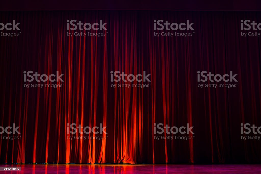 Red curtains with the lights of the show and the wood flooring parquet. - Royalty-free Abstract Stock Photo