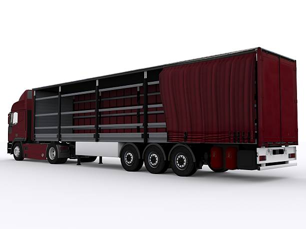 red curtainside trailer stock photo