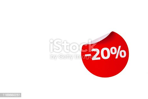 istock Red Curved Discount Sticker. 1169660251