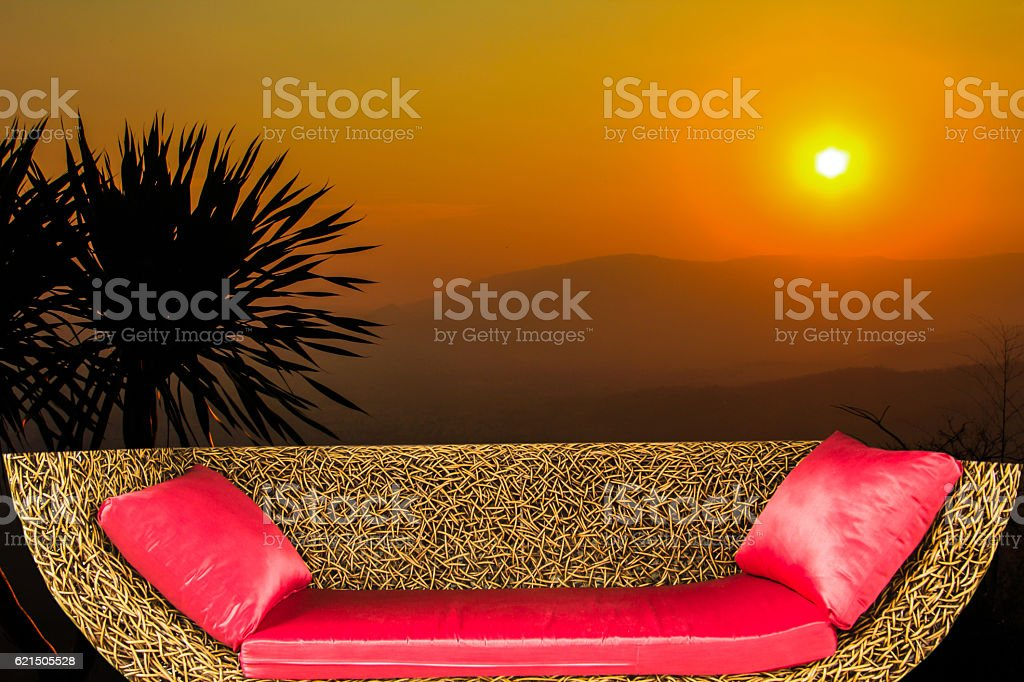 Red cushion on the sofa Lizenzfreies stock-foto