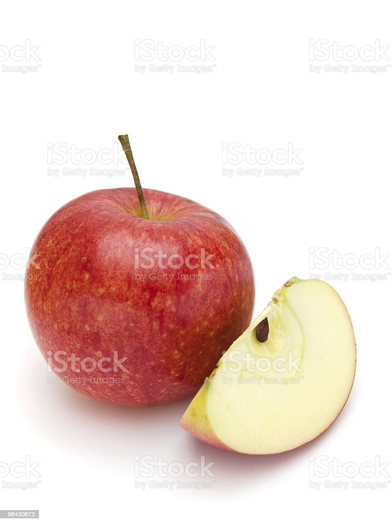 red cut apple on a white background royalty-free stock photo