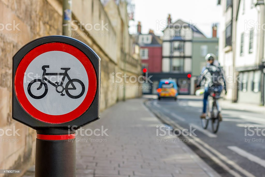 Red cycle sign stock photo
