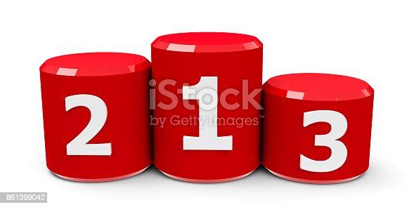 istock Red cylinder podium #2 861399042