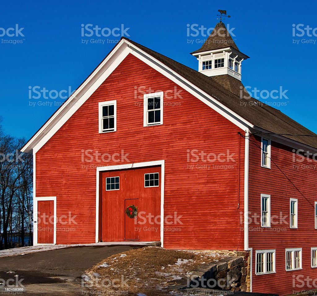 Red Dairy Barn with Double Doors and Coupola royalty-free stock photo