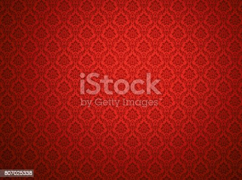 istock Red damask pattern background 807025338