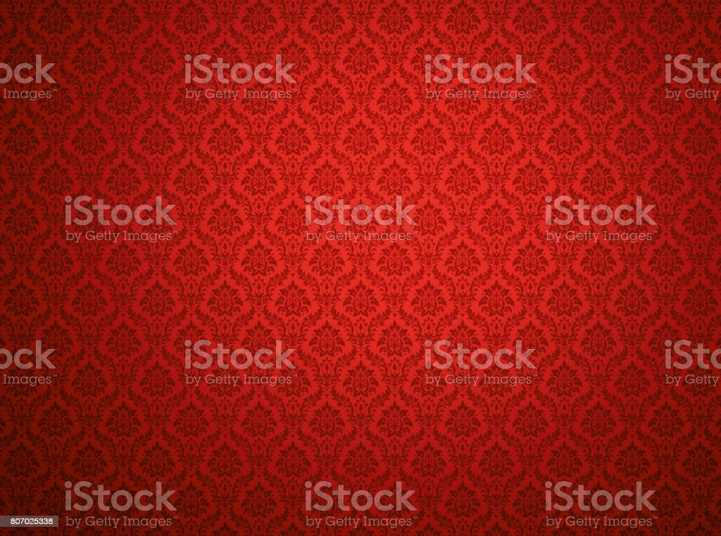 Red damask pattern background stock photo