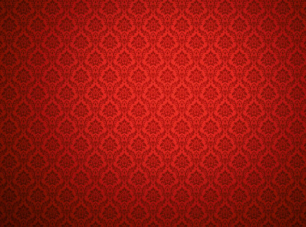 Red damask pattern background Red damask wallpaper with floral patterns royalty stock pictures, royalty-free photos & images
