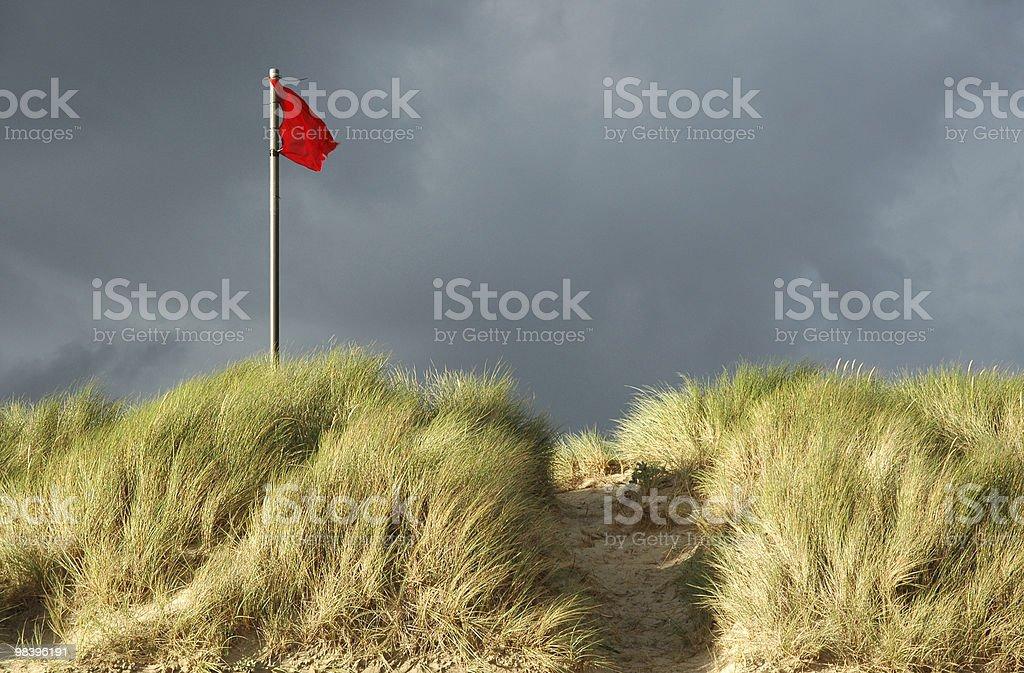 적색 위험 플랙 해변의 royalty-free 스톡 사진