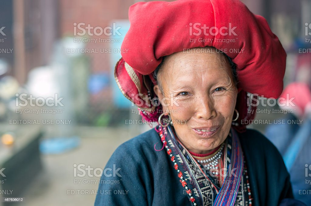 Red Dao woman stock photo