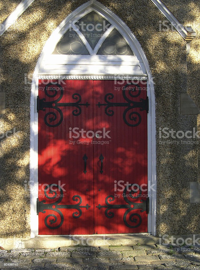 Red dappled door royalty-free stock photo