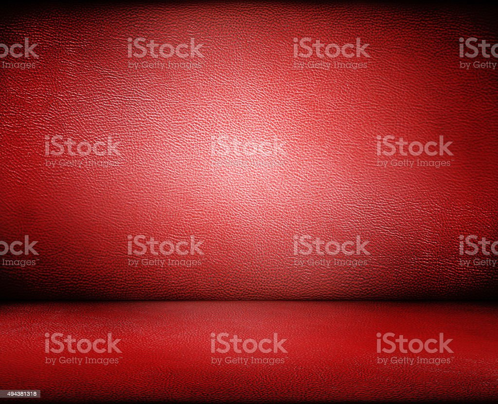 Red dark leather wall and floor background stock photo
