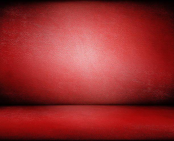 Rojo de cuero oscuro fondo de pared y suelo - foto de stock
