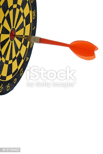 istock red dart In a dartboard on white 813128402