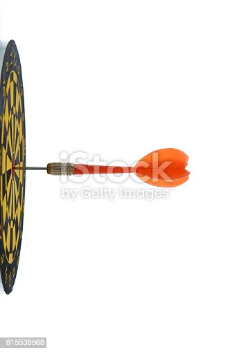 istock red dart In a dartboard on white 815538568