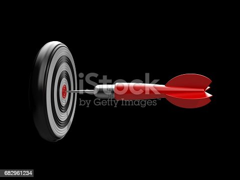 istock Red dart in the target center of dartboard. 3d illustration 682961234