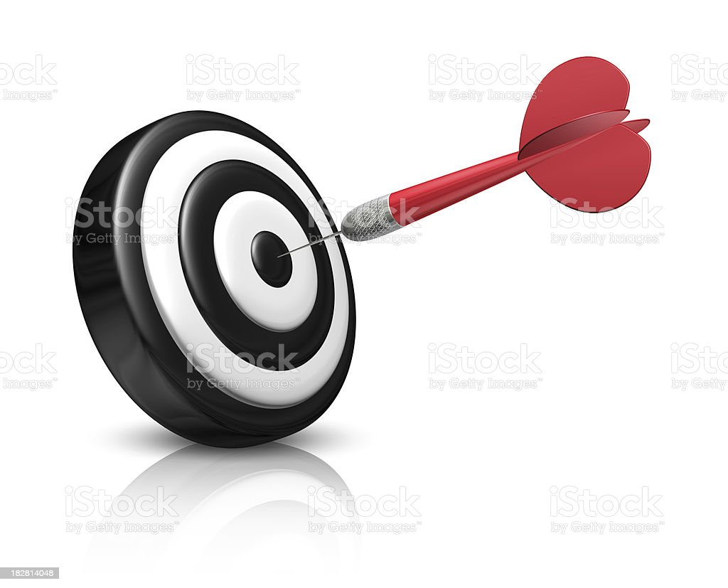 Red dart on black and white target royalty-free stock photo