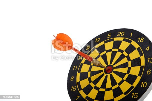 istock Red dart on target isolated a white 806301630