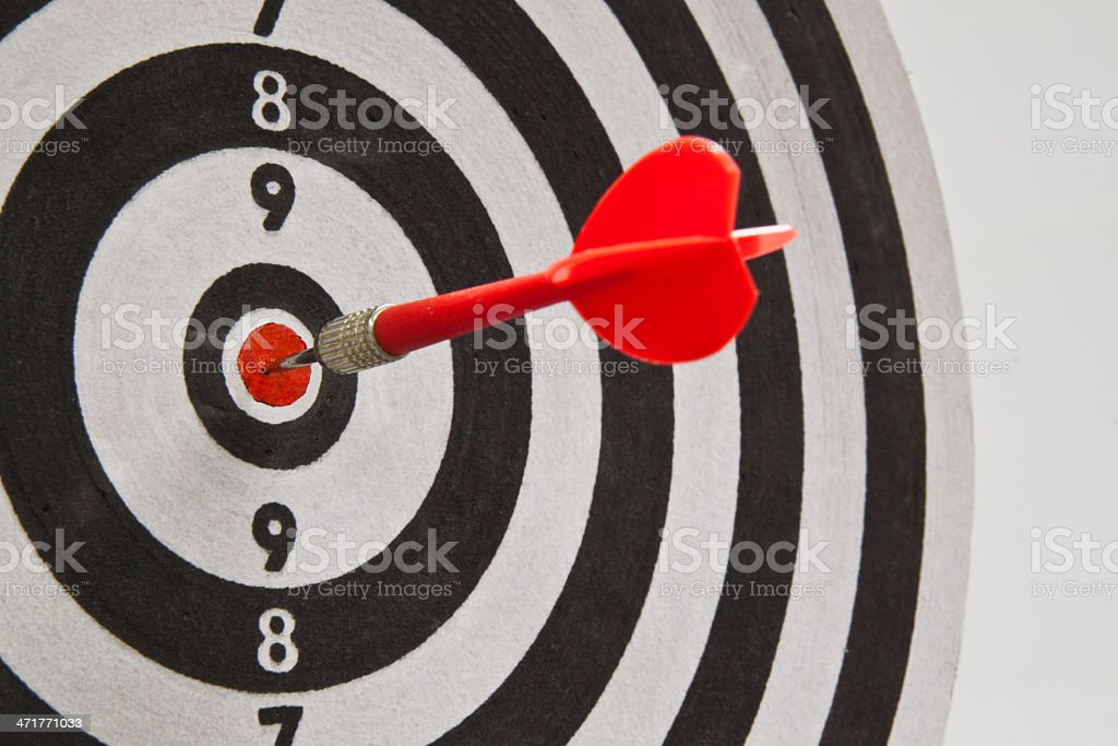 Red dart on target royalty-free stock photo