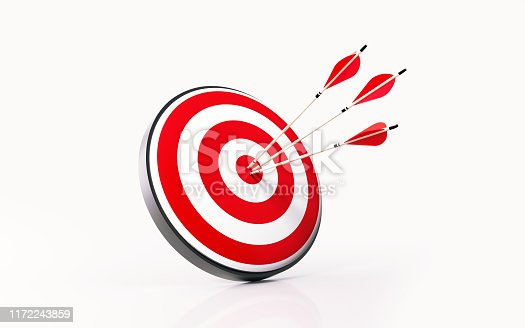 istock Red Dartboard and Arrows on White Background 1172243859