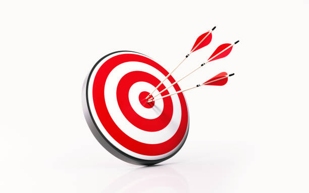 Red Dartboard and Arrows on White Background Red dartboard and arrows on white background. Horizontal composition with copy space. Success concept. bull's eye stock pictures, royalty-free photos & images