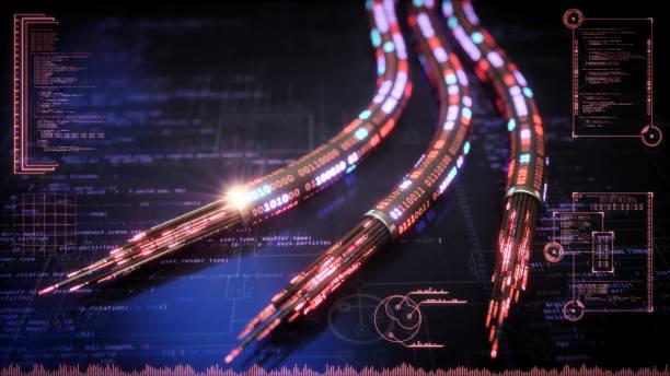 roten datenkabel futuristisches design - glasfaser telekommunikationsgerät stock-fotos und bilder