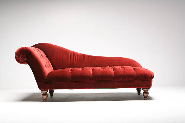 Red daybed in white studio  chaise longue stock pictures, royalty-free photos & images
