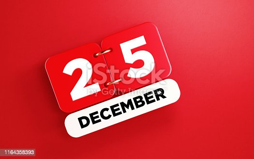 istock Red December 25 Calendar on Red Background 1164358393