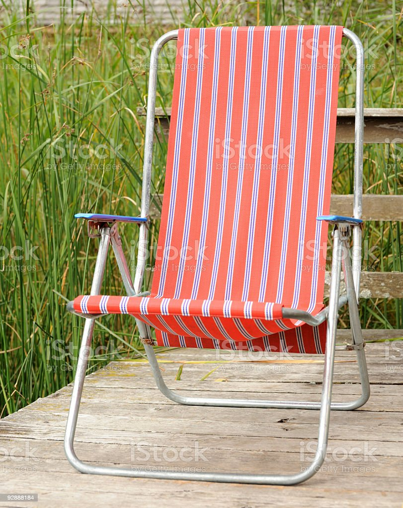 Red Deck Chair royalty-free stock photo