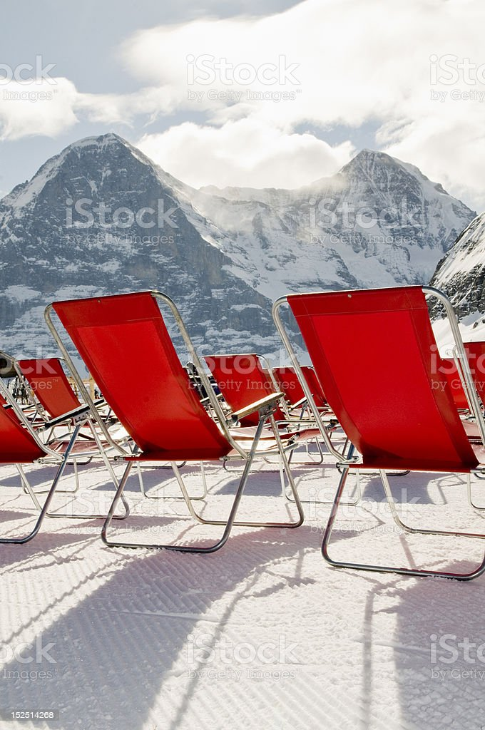 red deckchairs royalty-free stock photo