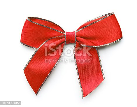 red decorative bow isolated on white background
