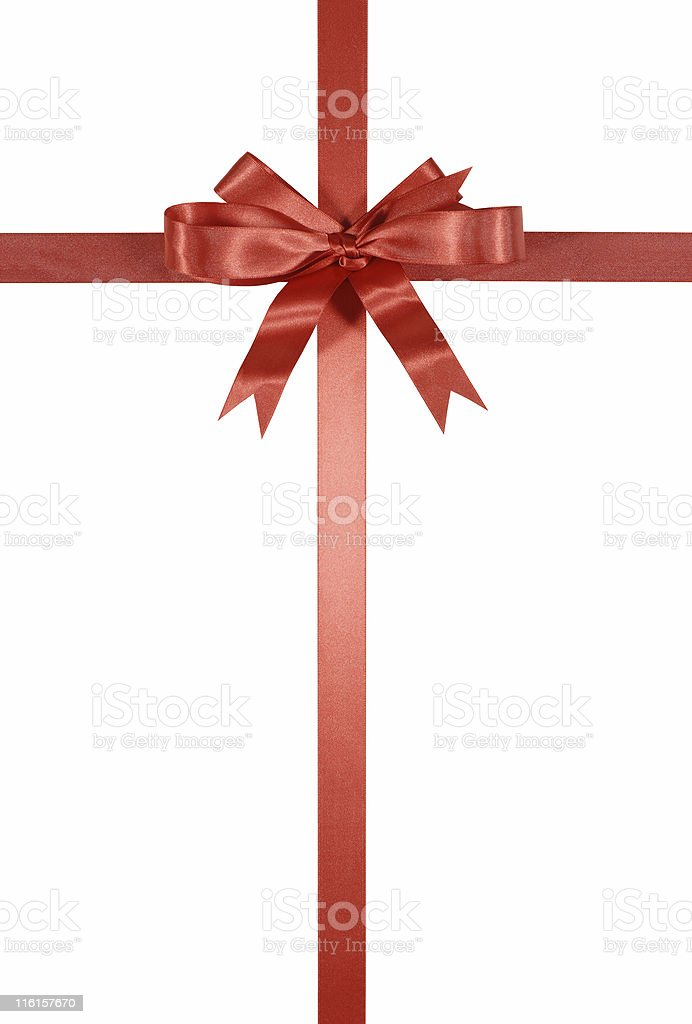 Red decorative ribbon and bow stock photo