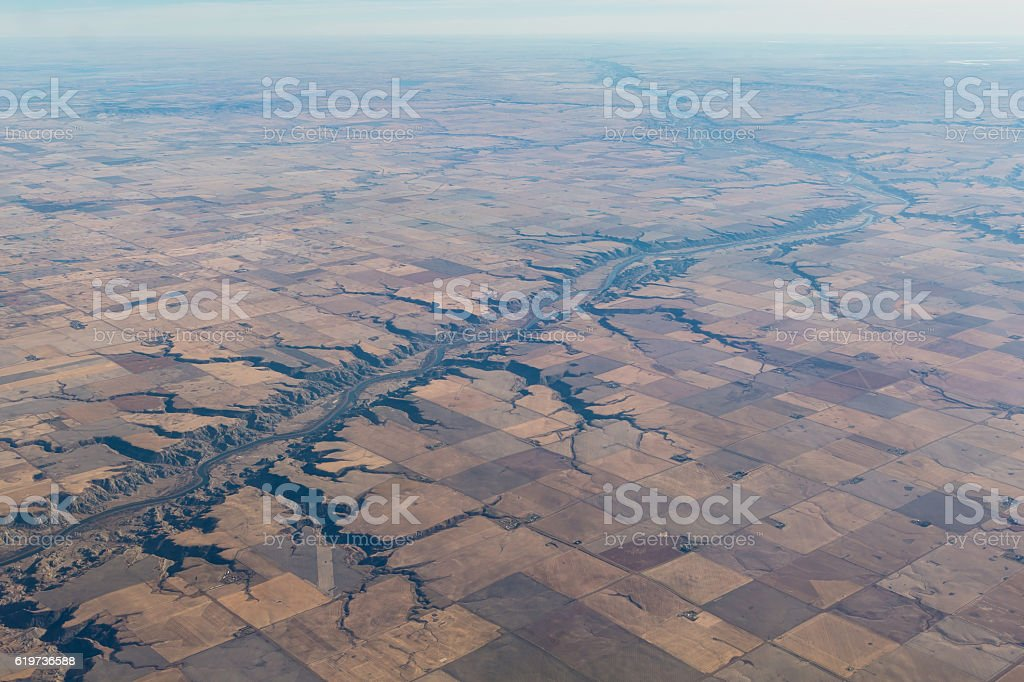 Red Deer River carving the prairies.. stock photo