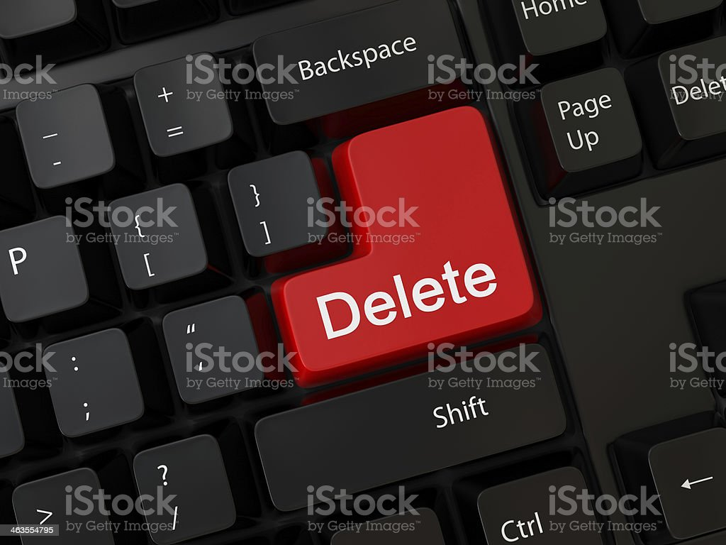 A red delete button on a black keyboard stock photo